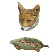 Fox Tree Face and Leaf Bowl Birdfeeder