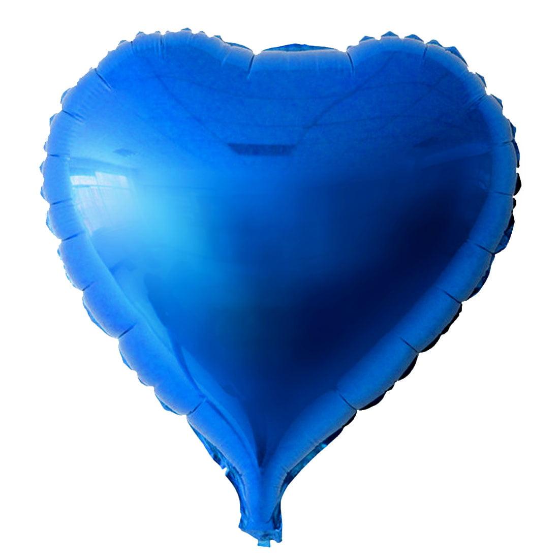 "Unique Bargains Foil Heart Shape Balloon Wedding Birthday Celebration Decor Blue 10"""