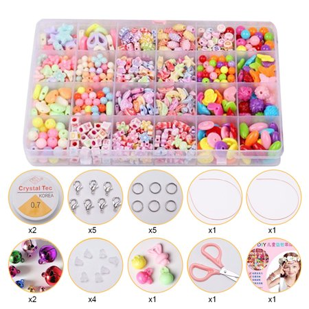 Girl Kids DIY Bracelet Arts Craft Make Own Beads Jewellery Making Set Box Kit ()