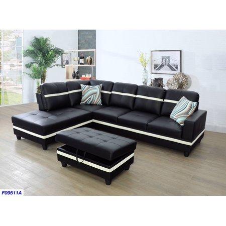 Wellington Faux Leather Sectional Sofa with Ottoman - Walmart.com