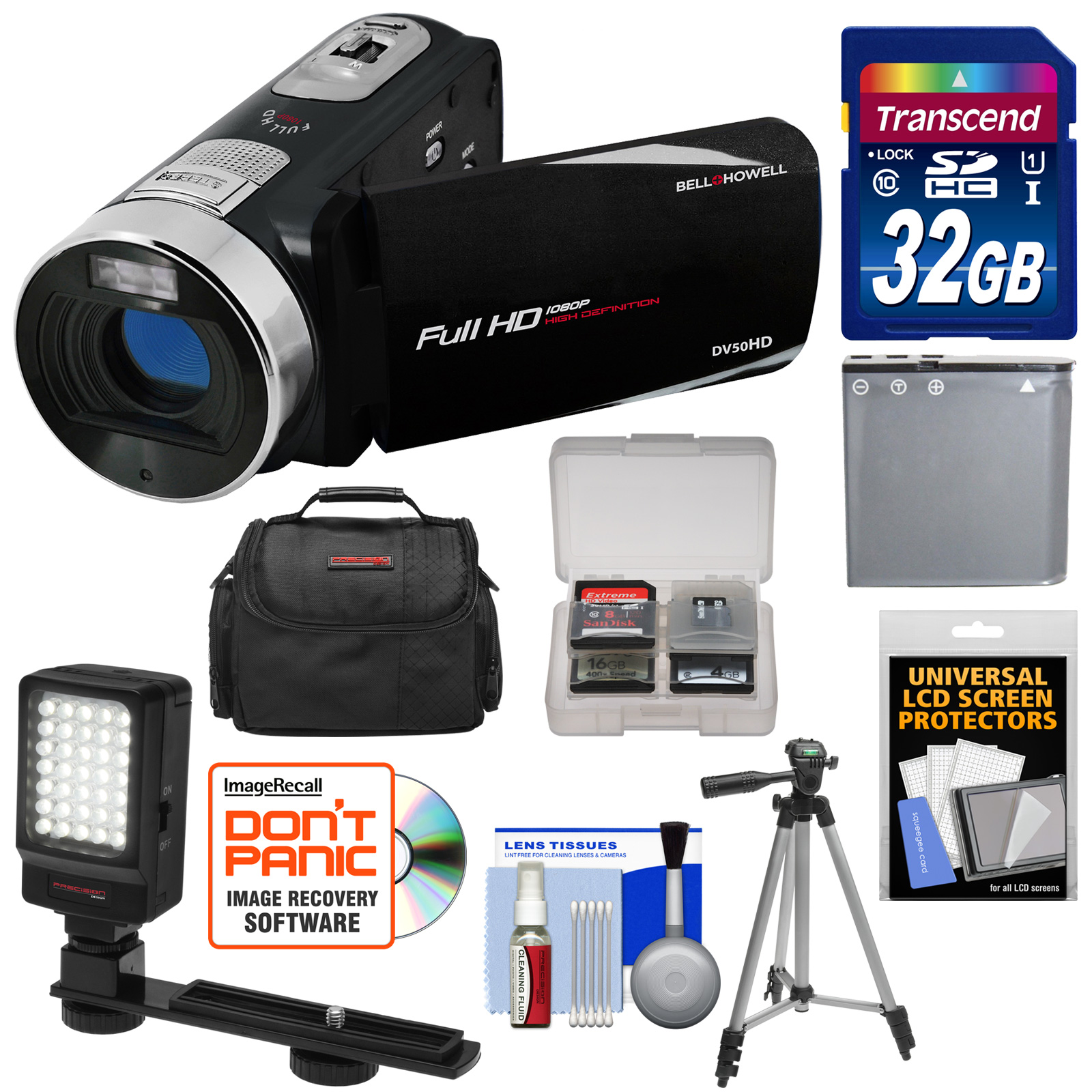 Bell & Howell Fun Flix DV50HD 1080p HD Video Camera Camcorder (Black) with 32GB Card + Battery + Case + Tripod + LED Video Light + Kit