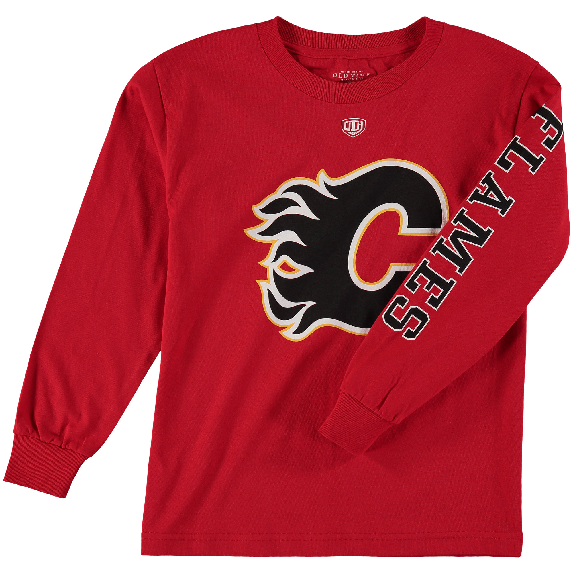 Youth Old Time Hockey Red Calgary Flames Two Hit Long Sleeve T-Shirt by