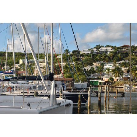 Canvas Print Oyster Pond Marina Harbor Saint Martin Caribbean Stretched Canvas 32 x 24