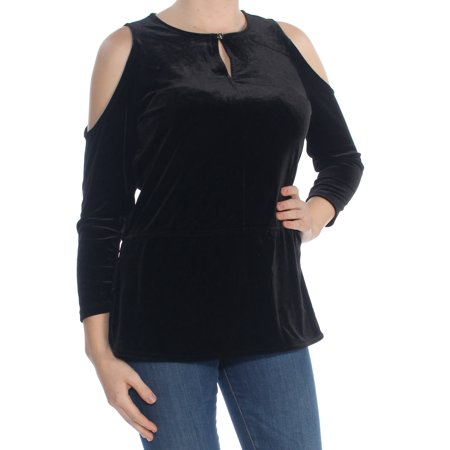 RALPH LAUREN Womens Black Cold Shoulder Velvet Cold Shou Long Sleeve Jewel Neck Cocktail Top Petites  Size: M