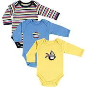 Hudson Baby Boy Long Sleeve Cotton Bodysuits 3-Pack