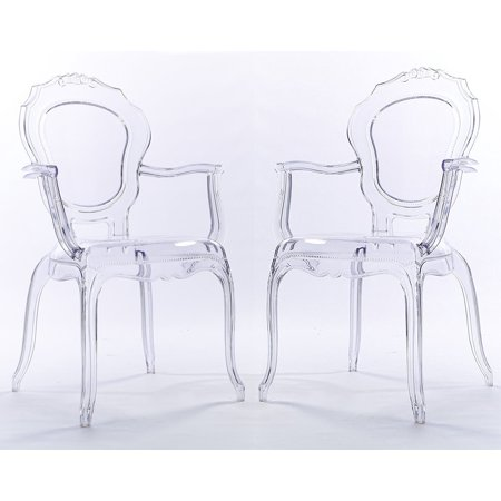 2xhome Set Of 2 Clear Modern Ghost Chair Armchair Vanity Dining Room Lounge Crystal Molded Mirrored