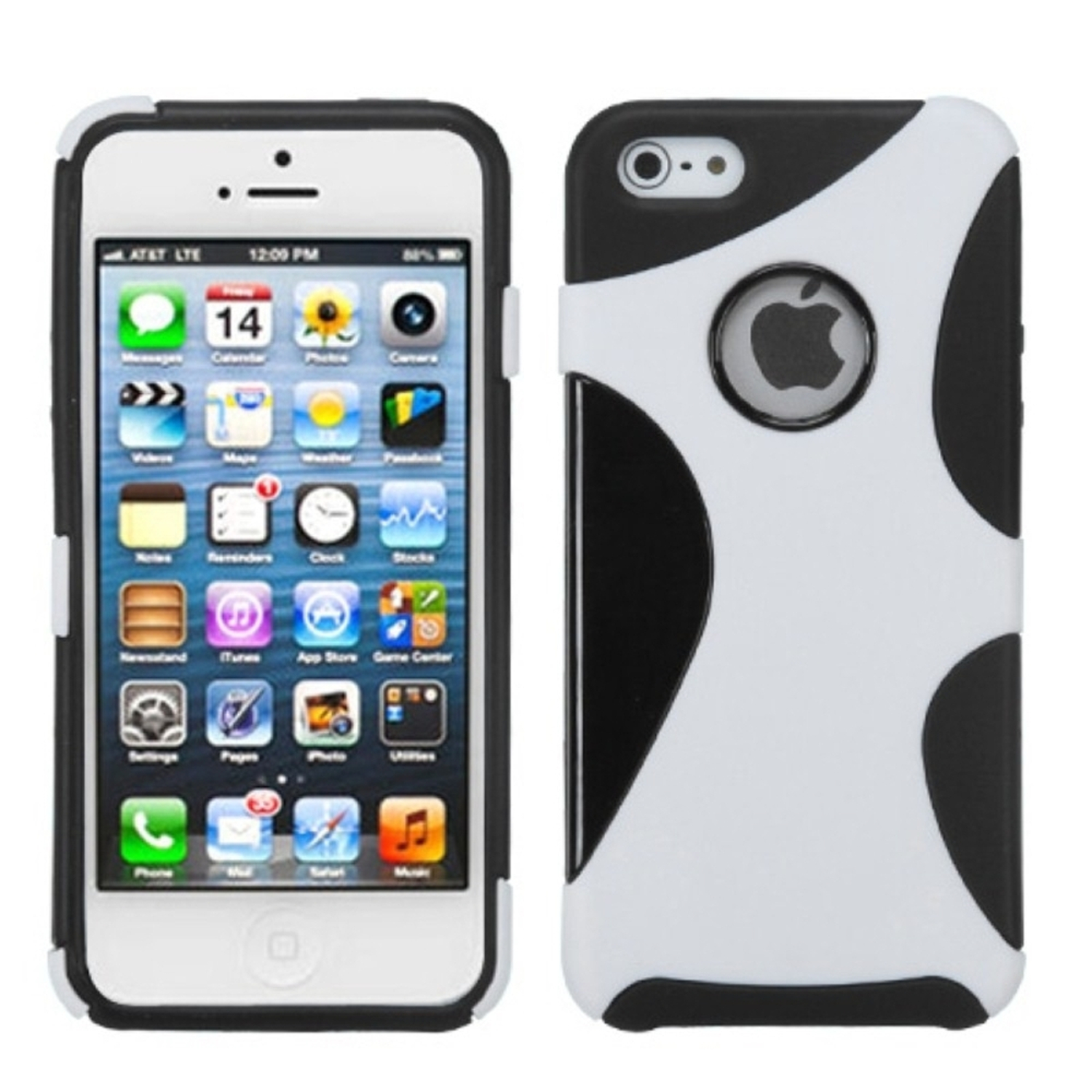 Insten Rubberized White/Black Cragsman Mixy Case For iPhone SE 5s