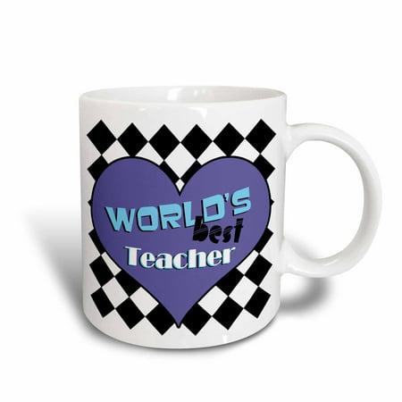 3dRose Worlds Best Teacher Blue, Ceramic Mug,