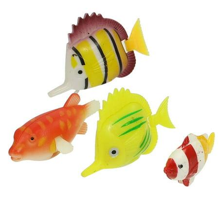 Unique Bargains Unique Bargains 4 x Simulated Plastic Striped Tropical Fish Ornament for Aquarium