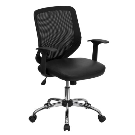 Flash Furniture Mid-Back Black Mesh Tapered Back Swivel Task Office Chair with Leather Seat, Chrome Base and T-Arms Screen Back Mesh Seat Office