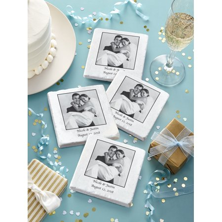 Personalized Tumbled Marble Wedding Photo Coasters