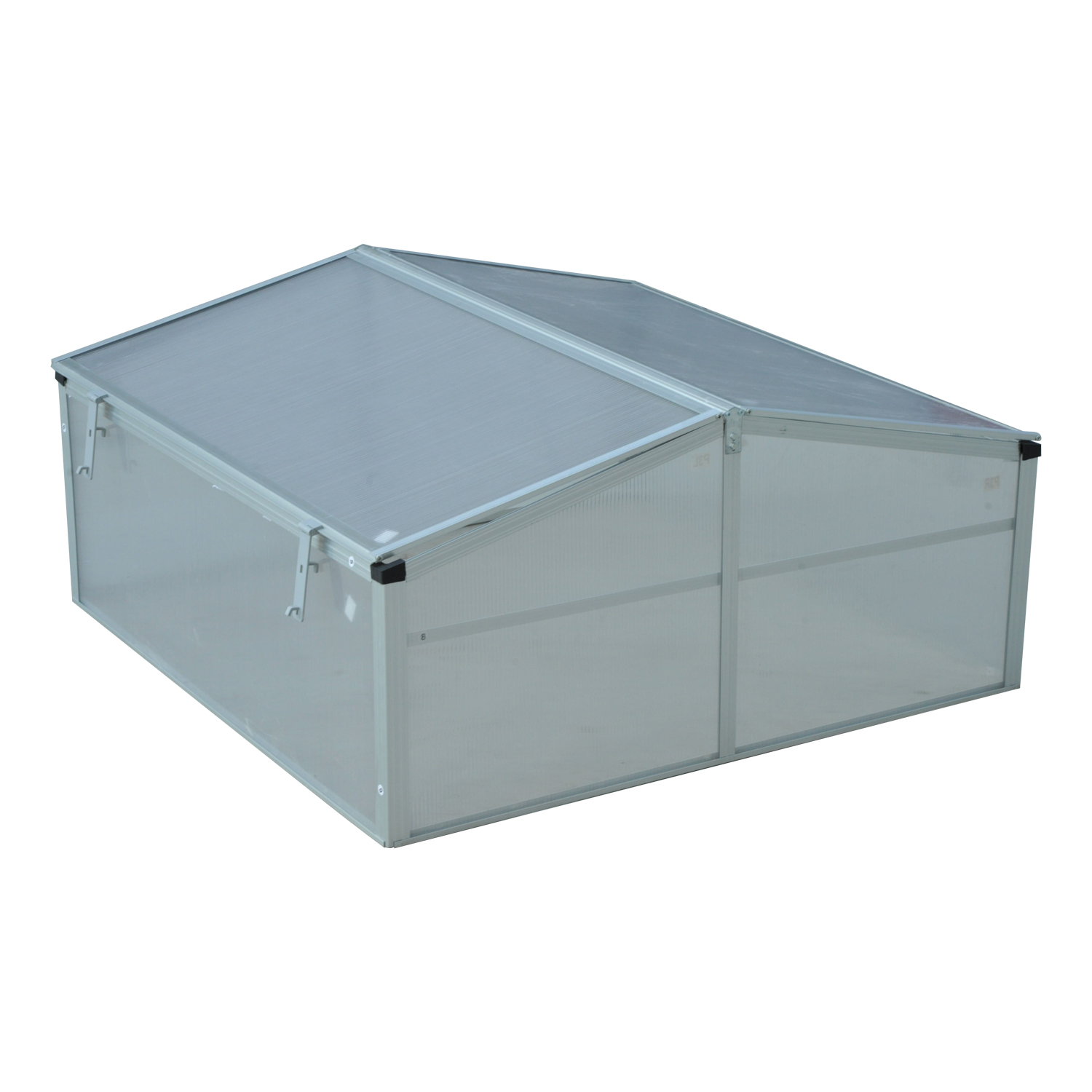 Outsunny 39 Aluminum Vented Cold Frame Greenhouse Silver Transparent by Aosom