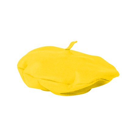 Adults Suave Yellow French Mime Artist Beret Hat Costume Accessory