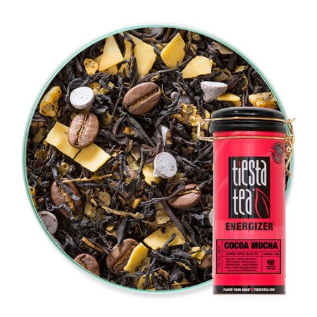 Tiesta Tea Cocoa Mocha, Tiramisu Coffee Black Tea, 50 Servings, 4.5 Ounce Tin, High Caffeine, Loose Leaf Black Tea Energizer Blend ()