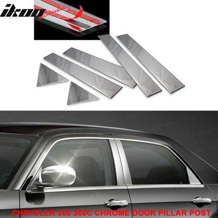 (Fits 05-10 Chrysler 300 300C Chrome Door Pillar Post Trim 6 Pcs Stainless Steel)