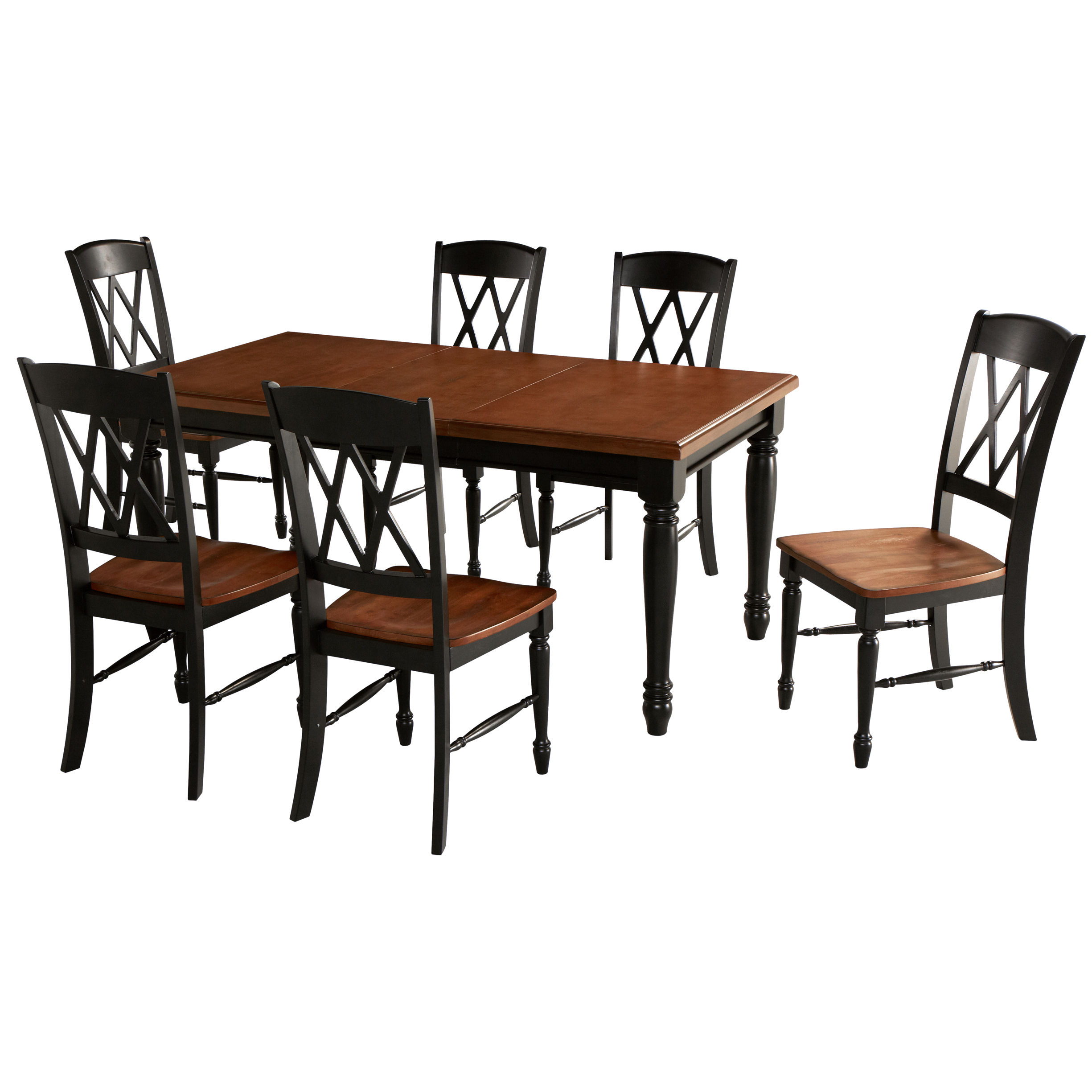 Home Styles Monarch 7 Piece Dining Set In Black And Oak Finish