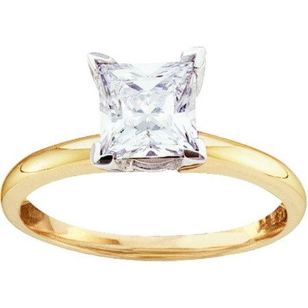 14K Yellow Gold Two Tone 0.25ct 4 Prong Diamond Princess Semi mount Fashion