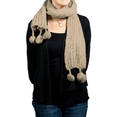 Fluffy Pom-Pom Scarf Cable Knit Winter Soft 77