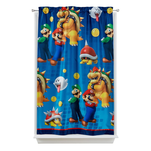 Super Mario Kids Lights Off Room Darkening Curtain Panel, 63-inch L