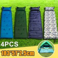 4Pcs Outdoor Camping Folding Self Inflating Air Cushion Beach Mat Mattress Pad Pillow Hiking Waterproof Sleeping Bed Travel bed