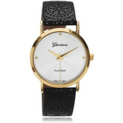 Women's Two-Tone Leather Design Strap Fashion Watch, Black/Gold