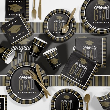 Large Silver and Gold Glitz Graduation Party Supplies Kit - Party Graduation