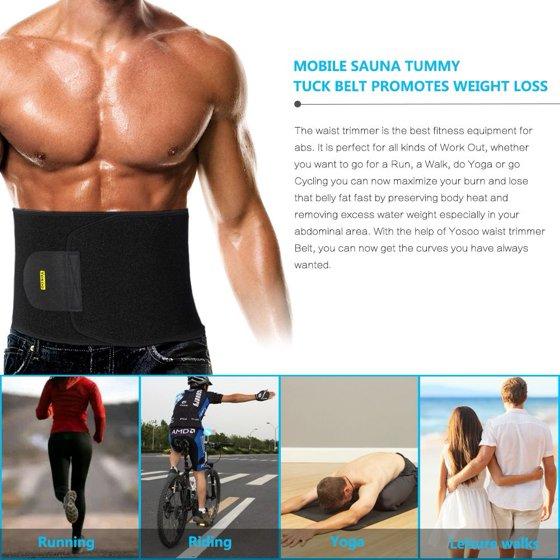 d8a60a7194 yosoo waist trimmer belt - neoprene waist sweat band for slimmer water  weight loss mobile sauna tummy tuck belts black - Walmart.com
