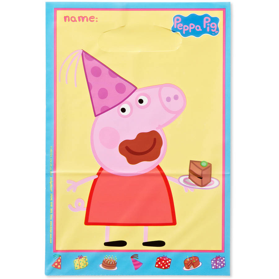 Peppa Pig Party Treat Bags, 9.25 x 6.5 in, 8ct
