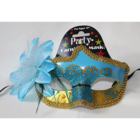 Regent Products Blue and Gold Party Carnivale Masqureade Halloween Mask with - Carnivale Chicago Halloween