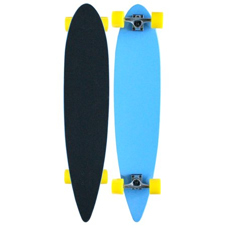 BLUE YELLOW LONGBOARD SKATEBOARD COMPLETE DECK, TRUCKS,