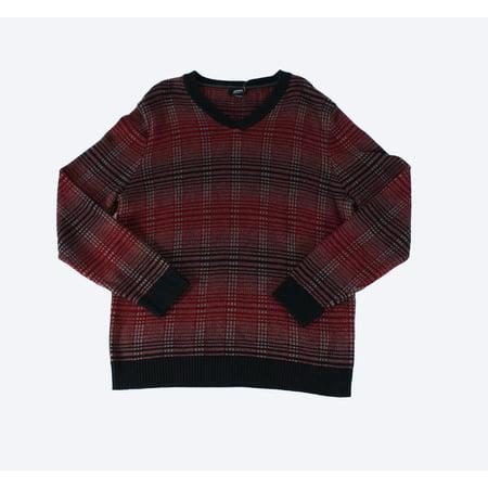 Alfani NEW Red Mens Size Large L V-Neck Plaid Long Sleeve Sweater