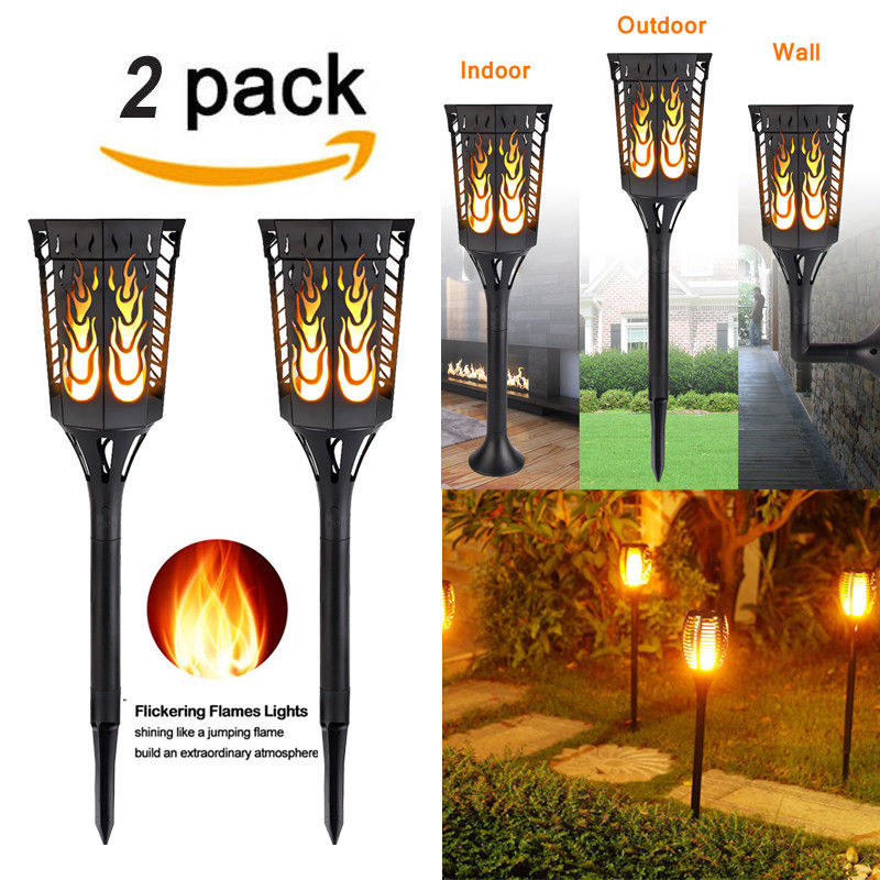 (Set of 2 )Waterproof Solar LED 96 Lights Dusk to Dawn Auto On/Off Flickering Flames Torches Lighting for Indoor Outdoor Festival Atmosphere Garden Pathways Yard Patio Holiday Decoration