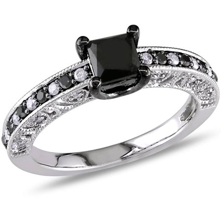 1 Carat T W  Black And White Princess Cut Diamond Sterling Silver Engagement Ring