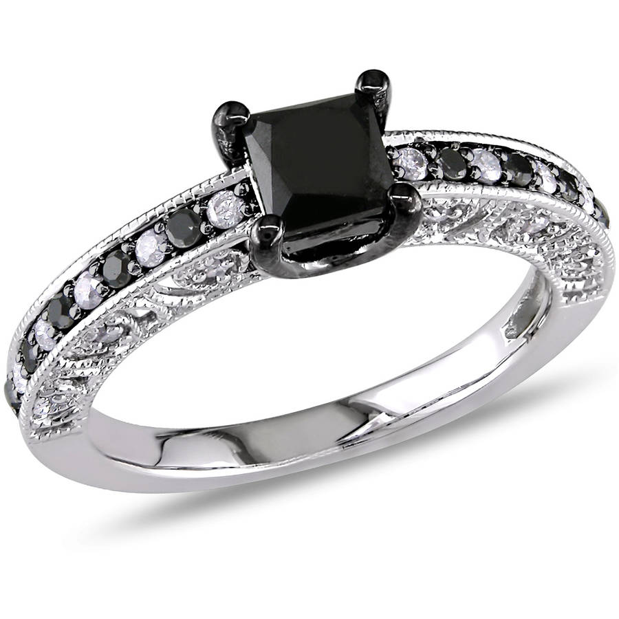 1 Carat T.W. Black and White Princess-Cut Diamond Sterling Silver Engagement Ring