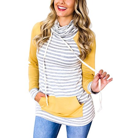 Womens Cowl Neck Patchwork Pullover Hoodies Drawstring Sweater Long Sleeve Casual Sweatshirts Blouses Tops