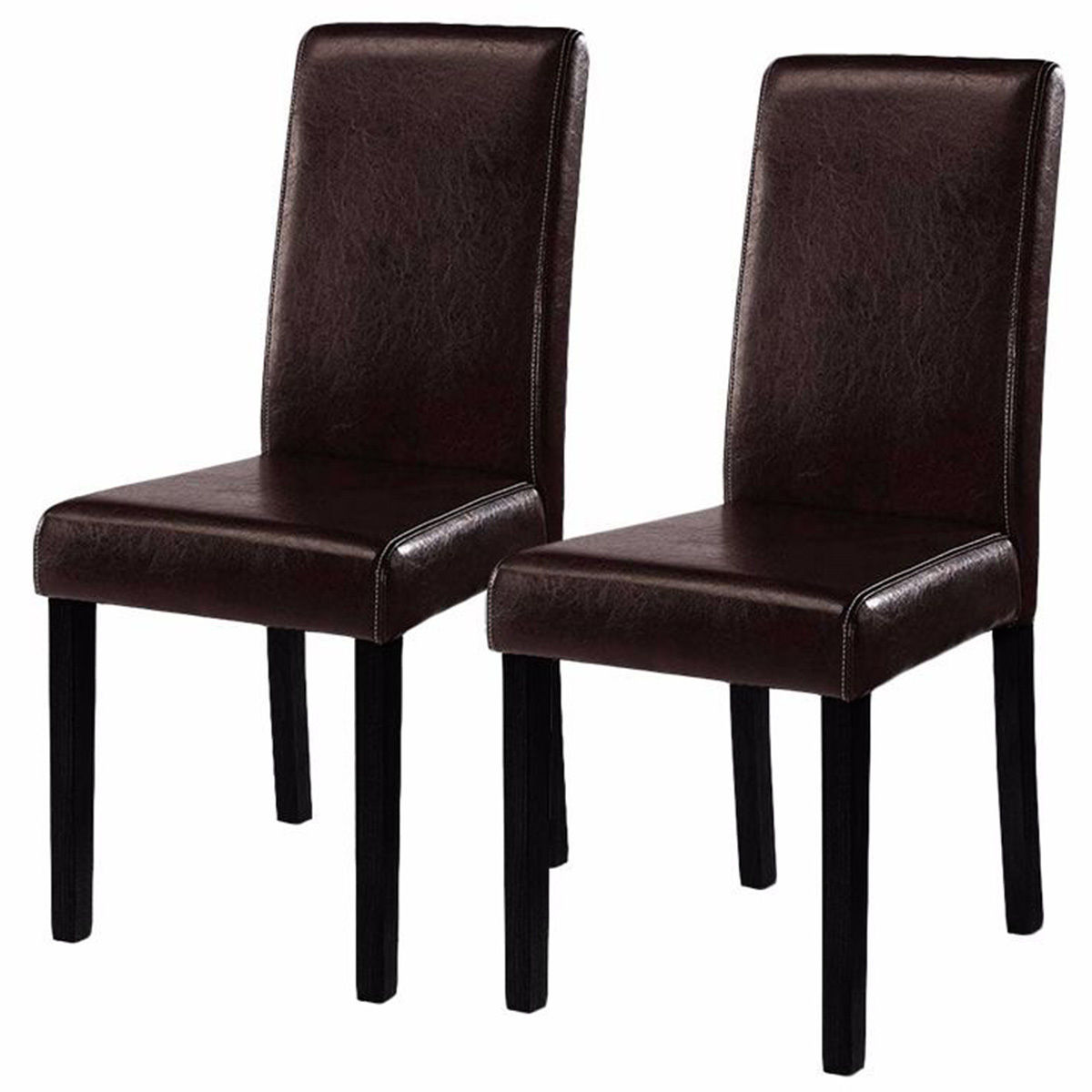 Costway Set of 2 Brown Elegant Design Leather Contemporary Dining Chairs Home Room by Costway