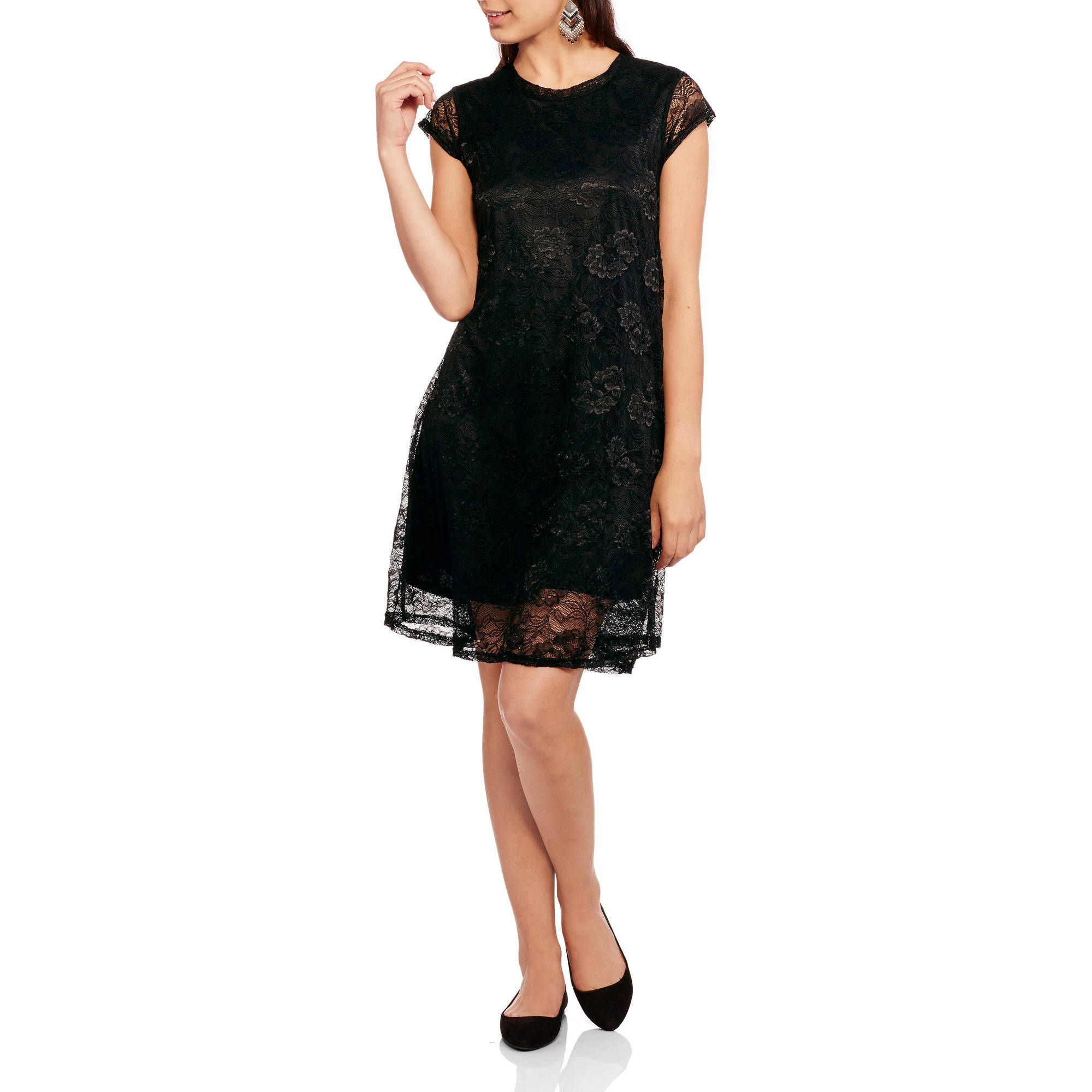 Moral Fiber Juniors' Black Lace Dress