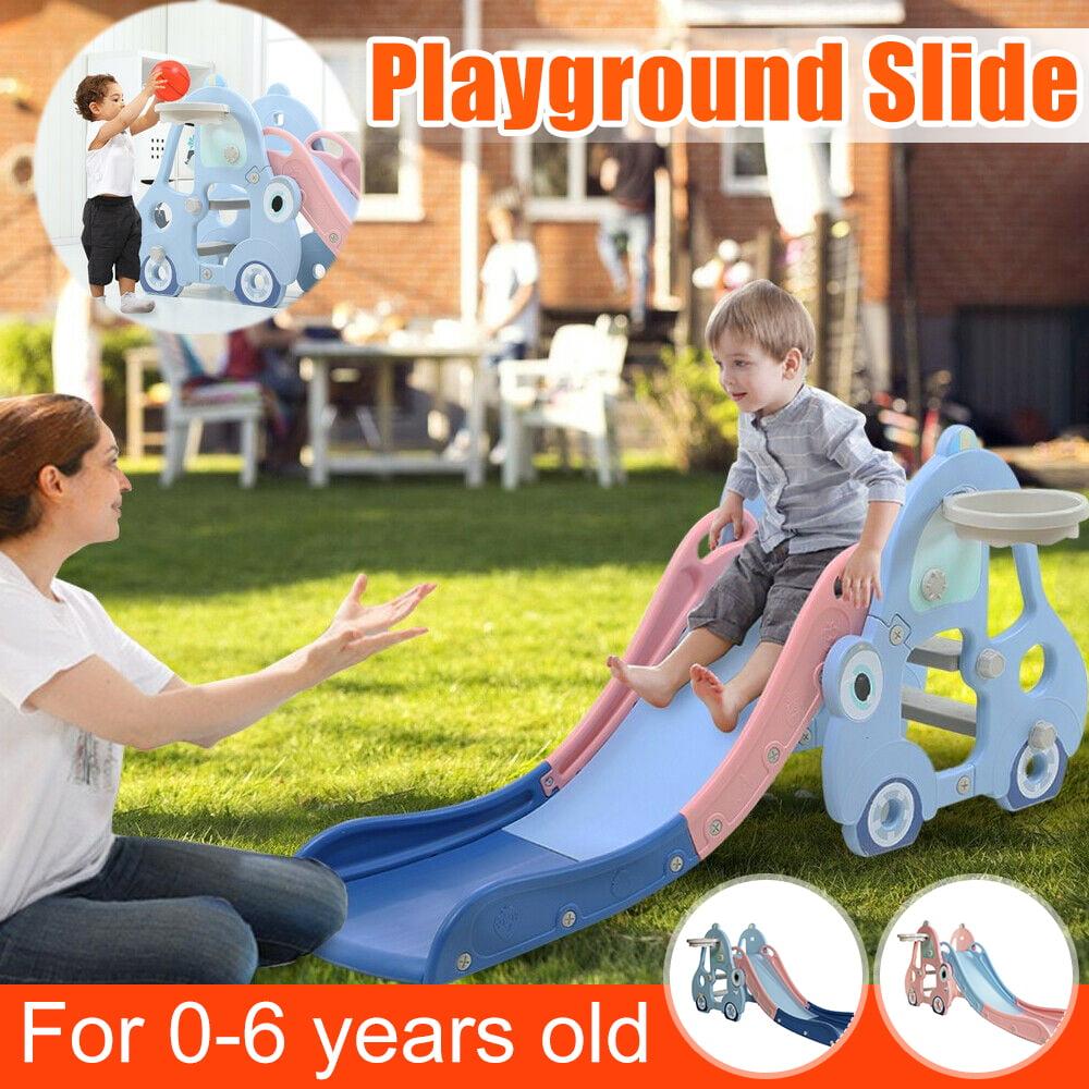 WELINK Kids Slide Sturdy Toddler Climbing Slide with Basketball Hoop Children Play Climber Slide Playset Toy for Indoor Outdoor Backyard Green