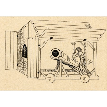 Medieval Twelve Light (A Medieval Mobile Cannon Being Fired From A Portable Shed From Sveriges Historia By Otto Sjogren Published Malmo 1938 Canvas Art - Ken Welsh  Design Pics (17 x 12) )