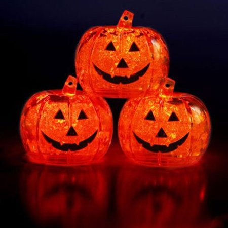 Set of 3 Brand Light up LED Ice Cubes Pumpkin Jack O Lantern, Safe & non toxic. FDA approved. By LiteCubes,USA - Light Up Ice Cubes Wholesale