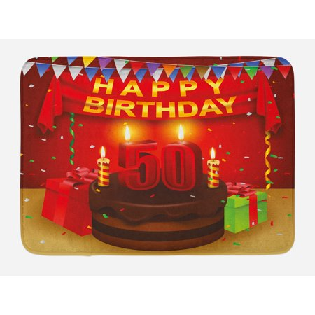 50th Birthday Bath Mat Chocolate Cake With Number Candles Presents Confetti Ribbons And The Flags