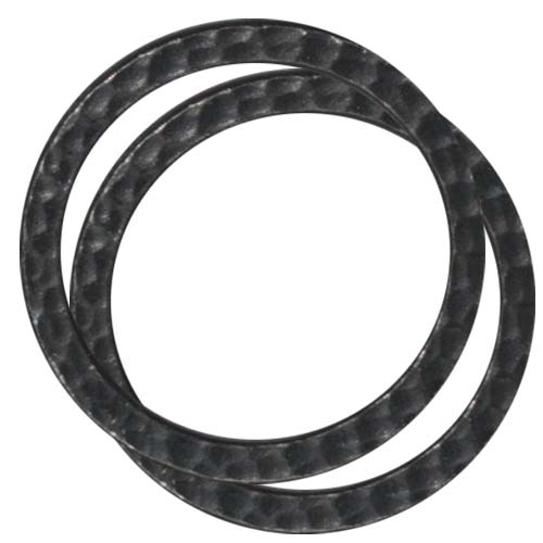 Black Finish Lead-Free Pewter Round 25mm Connector Link Ring (2)