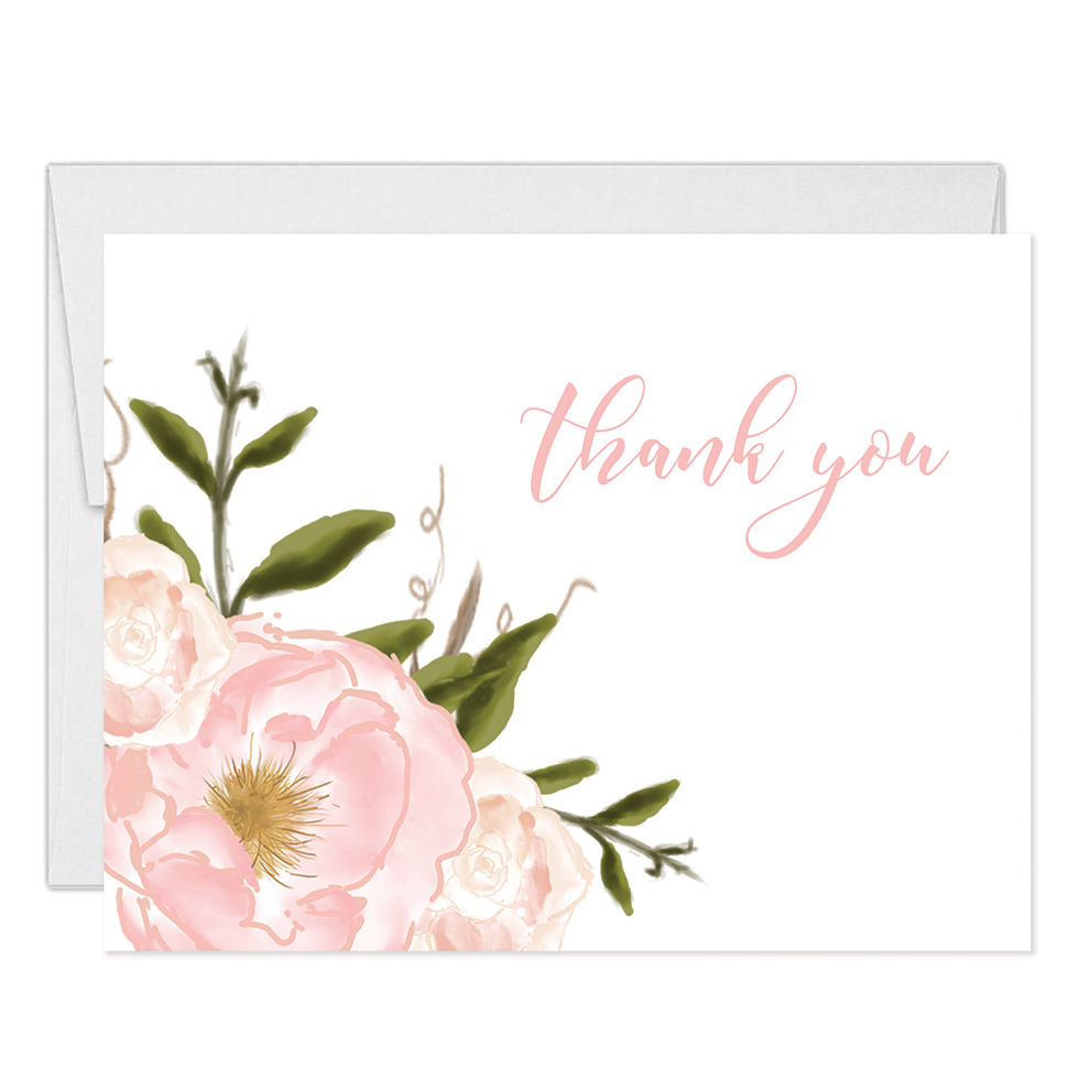 beautiful pink blooms thank you cards with envelopes