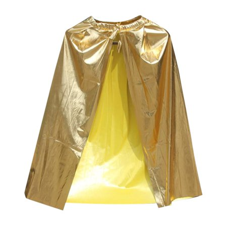 TopTie Shining Superhero Cape Dress Up Costume Party Accessory-Gold-Kid Size