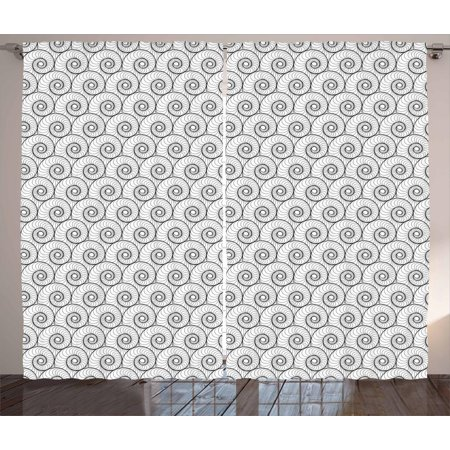 Abstract Curtains 2 Panels Set, Monochrome Welted Forms Voluted Inside Repeating in Regular Order Trippy Art, Window Drapes for Living Room Bedroom, 108W X 108L Inches, Black White, by Ambesonne