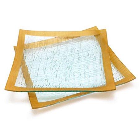 GAC Set of 2 Elegant Tempered Glass Dinner Plates Square Glass Platter 10 Inch, Break and Chip Resistant - Oven/Microwave Safe - Dishwasher Safe - Decorative Gold Border