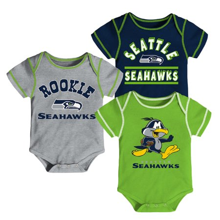Newborn & Infant College Navy/Neon Green/Gray Seattle Seahawks 3-Pack Bodysuit (College Onesie)