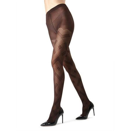 MeMoi Geometric Pattern Tights | MeMoi Women's Tights - Hosiery - Pantyhose Medium/Large / Dark Chocolate MO 331