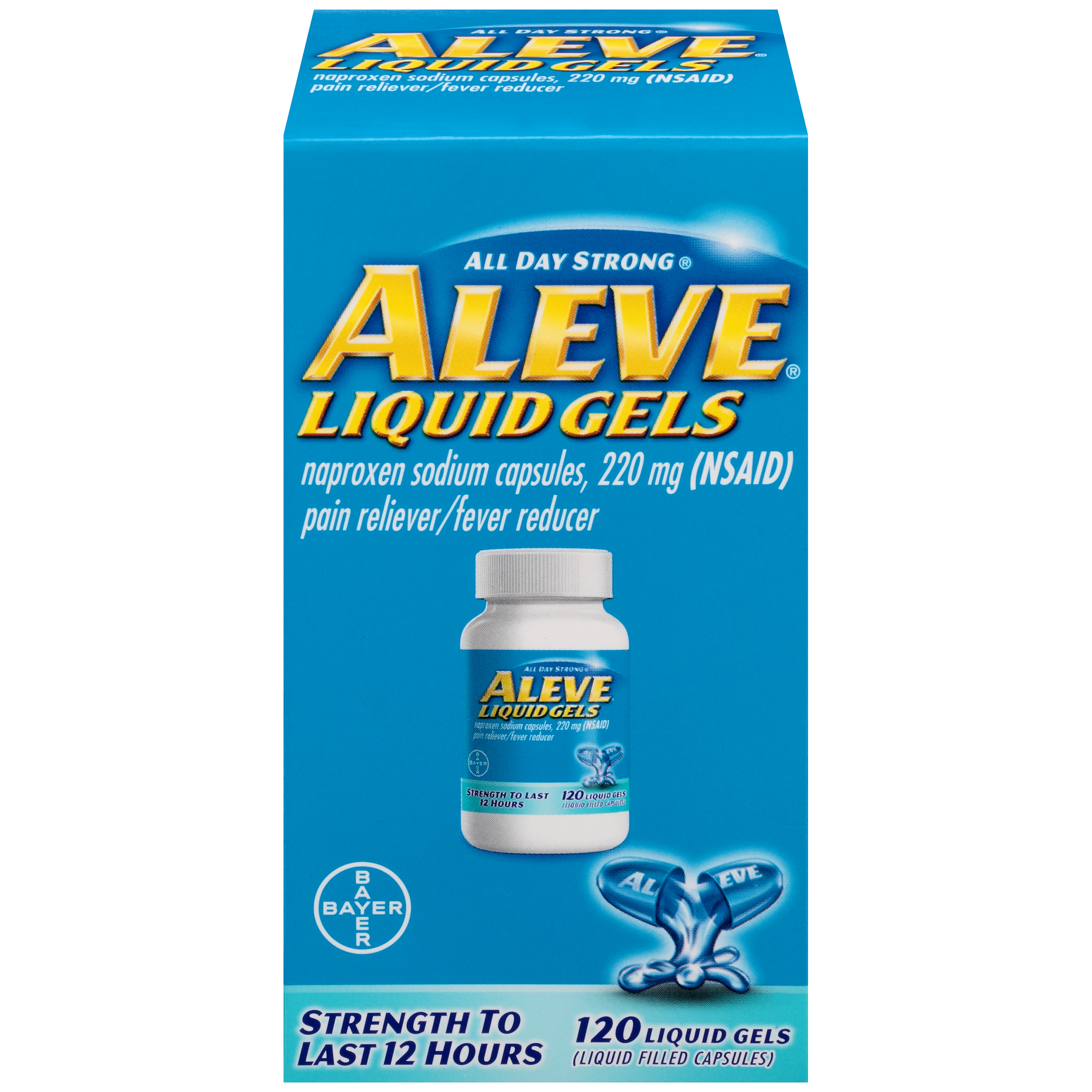 Aleve Liquid Gels w Naproxen Sodium, Pain Reliever/Fever Reducer, 220 mg, 120 Ct