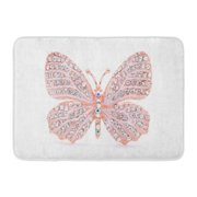 GODPOK Jewelry Pink Jewellery Brooch in The Shape of Butterfly on White Broach Accessory Rug Doormat Bath Mat 23.6x15.7 inch
